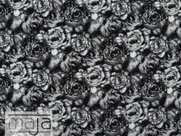 Viskosejersey Roses Black and White